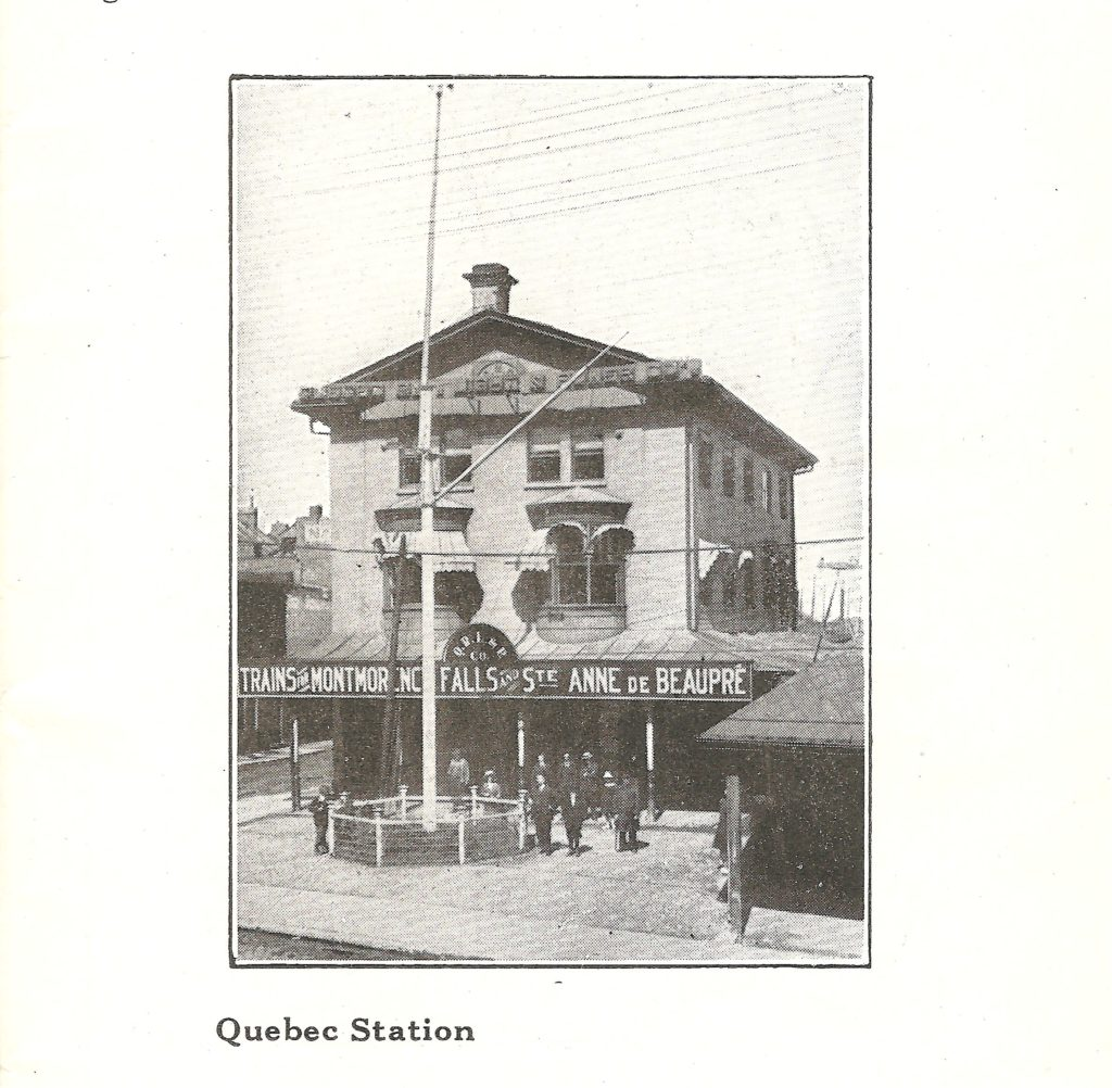La station de la Q.R.L.&P., à Québec, pour prendre le tramway vers la chute Montmorency et Sainte-Anne-de-Beaupré.