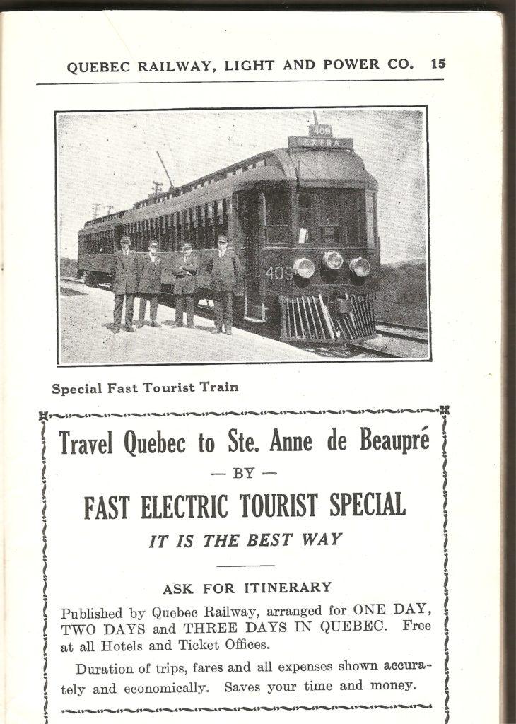 Une publicité pour le tramway vers Sainte-Anne-de-Beaupré, provenant également de la même brochure de la Quebec Railway Light & Power Co.