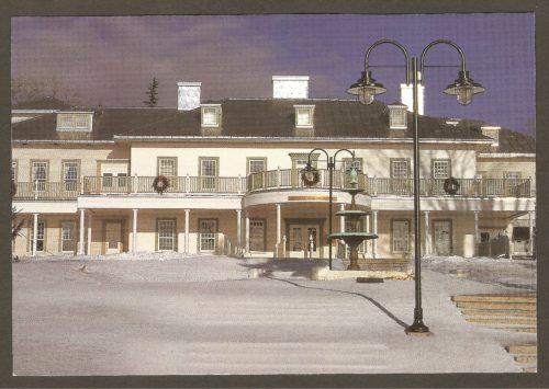 Carte postale montrant le manoir Montmorency après sa reconstruction, en 1994. Il avait été détruit par le feu le 13 mai 1993, alors qu'on y effectuait des rénovations majeures.