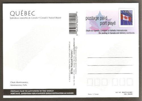 Une photographie aérienne de la chute et du manoir Montmorency, sur une carte postale préaffranchie émise par Postes Canada vers 2001. On peut également voir le pont de Boischatel, la passerelle et le kiosque du téléphérique.