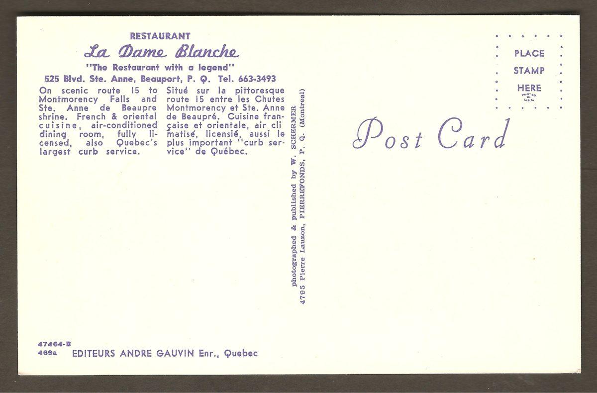 """L'endos de la carte revendique le statut de « plus important """"curb service"""" de Québec pour le restaurant. Par ailleurs, le titre proclame également que La Dame Blanche est «The restaurant with a legend». On fait donc allusion à la légende associée à la chute Montmorency."""