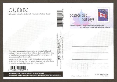 Une seconde carte postale préaffranchie de Postes Canada consacrée à la chute Montmorency. Elle est de la même série (produite vers 2001) que la précédente. Cette fois-ci, il s'agit d'une vue hivernale montrant, bien sûr, le fameux pain de sucre.