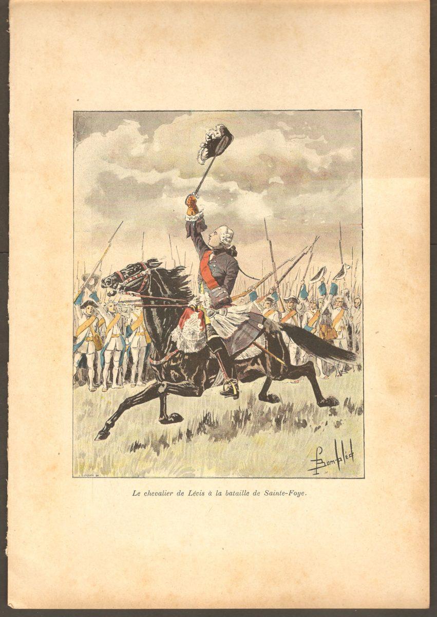 Une gravure ancienne montrant le chevalier de Lévis à la bataille de Sainte-Foy. Il ne semble pas exister de semblable illustration pour la bataille de Montmorency.