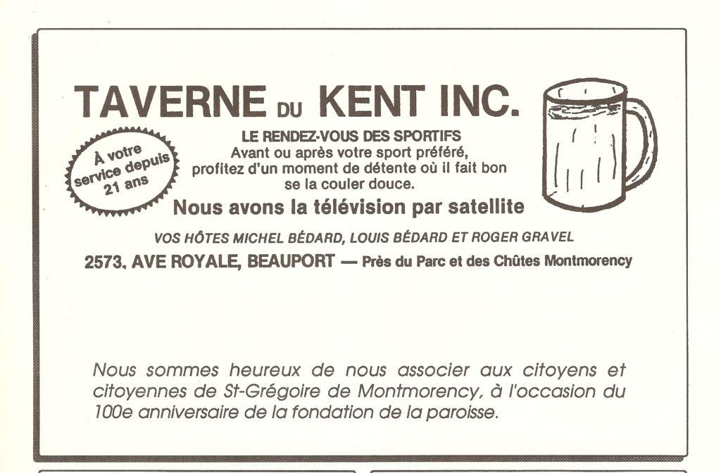 Publicité pour la taverne du Kent, publiée dans le programme-souvenir du Centenaire de Montmorency, en 1990.