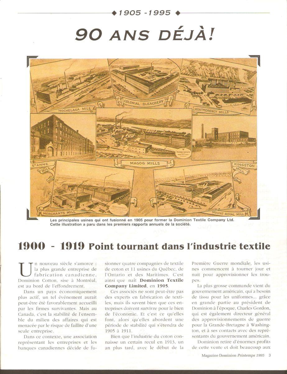 Dominion Magazine, printemps 1995. La première page de l'article (de 10 pages) faisant le survol de l'histoire de la Dominion Textile Co.
