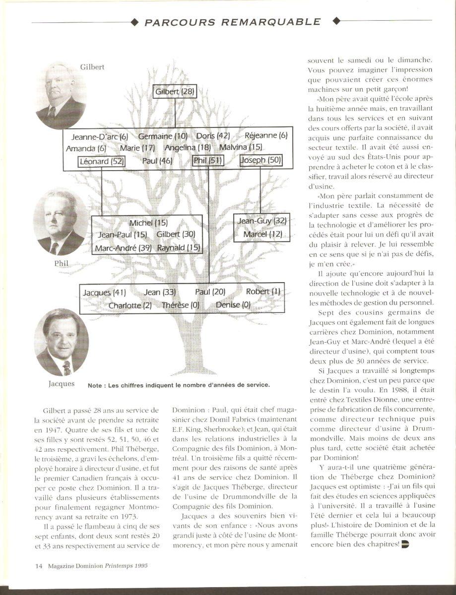 Fin de l'article sur la famille Théberge et arbre généalogique.