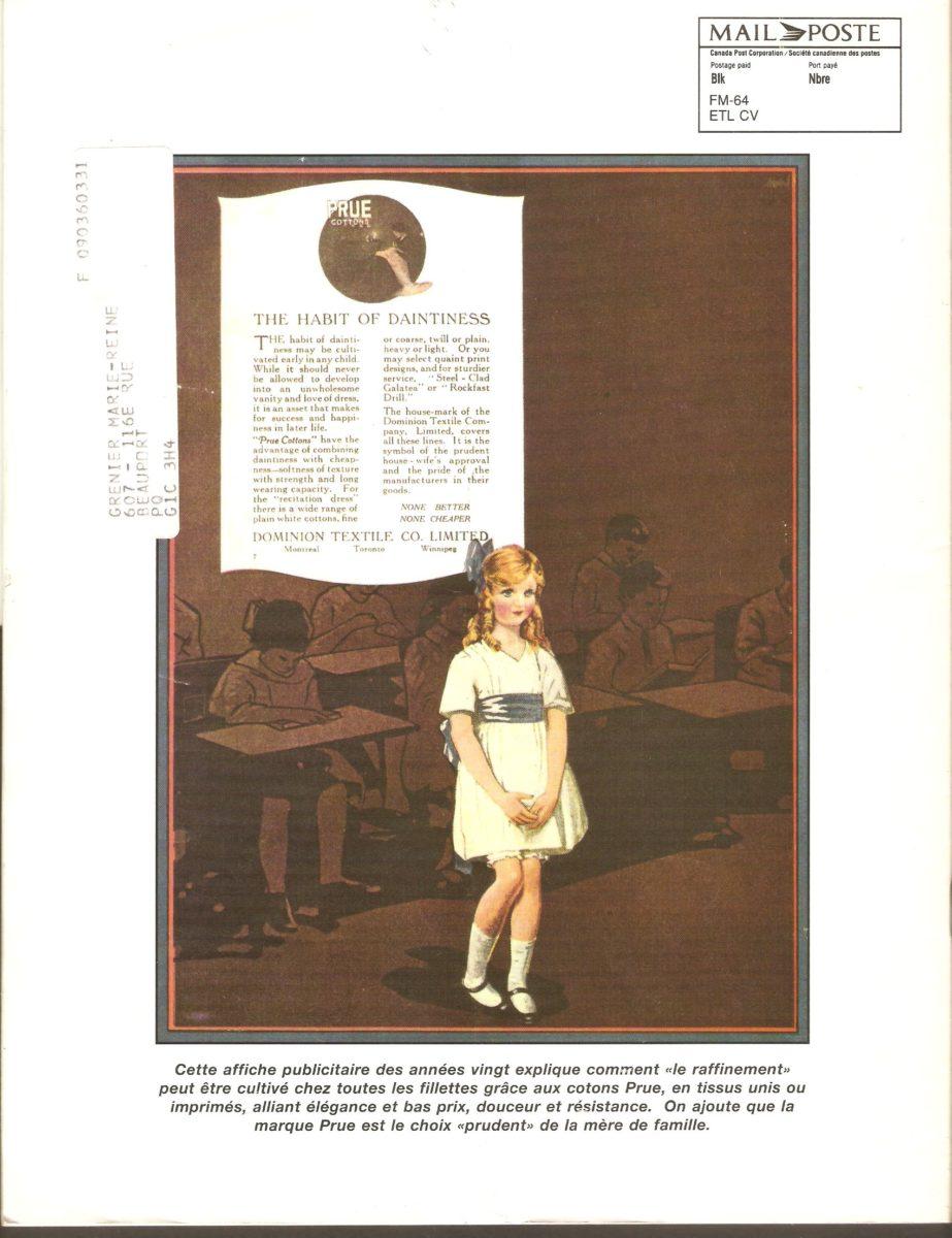 Endos du Dominion Magazine du printemps 1995, reprenant une publicité de la Dominion Textile datant des années 1920.