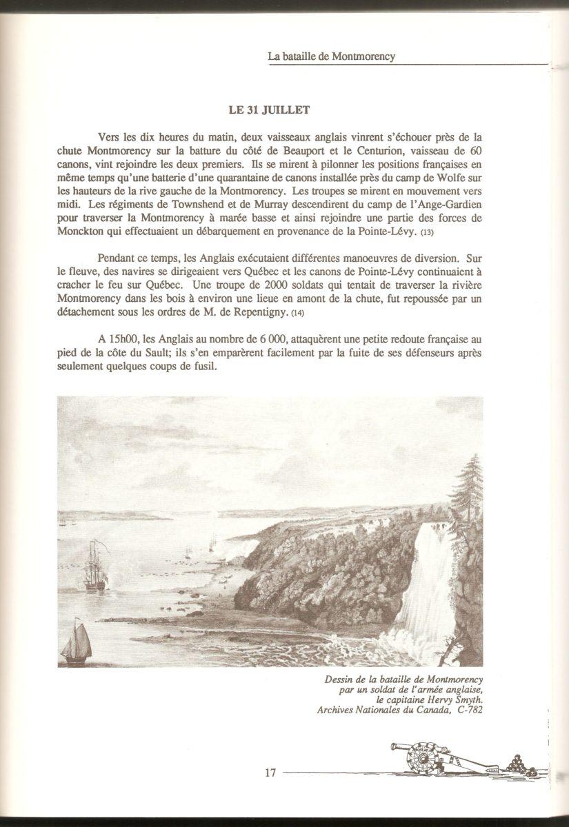 La bataille de Montmorency, mentionnée dans le livre La vie au Bas du Sault Montmorency, Paroisse St-Grégoire 1890-1990.
