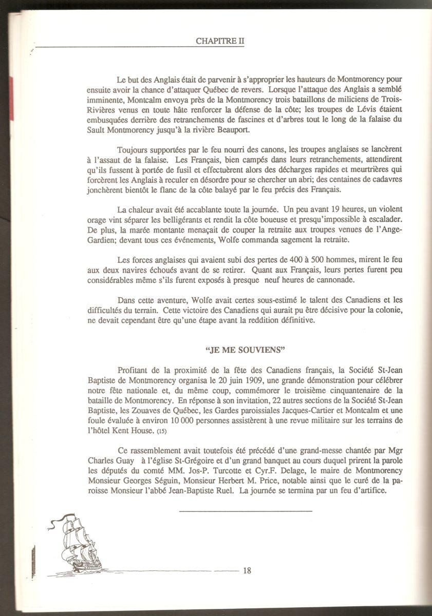 Suite de la description de la bataille et mention de la célébration commémorative du 20 juin 1909.