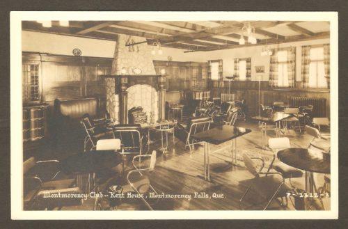 La salle « Montmorency Club » de l'hôtel Kent House, sur une carte postale Associated Screen News Limited, datant des années 1930.