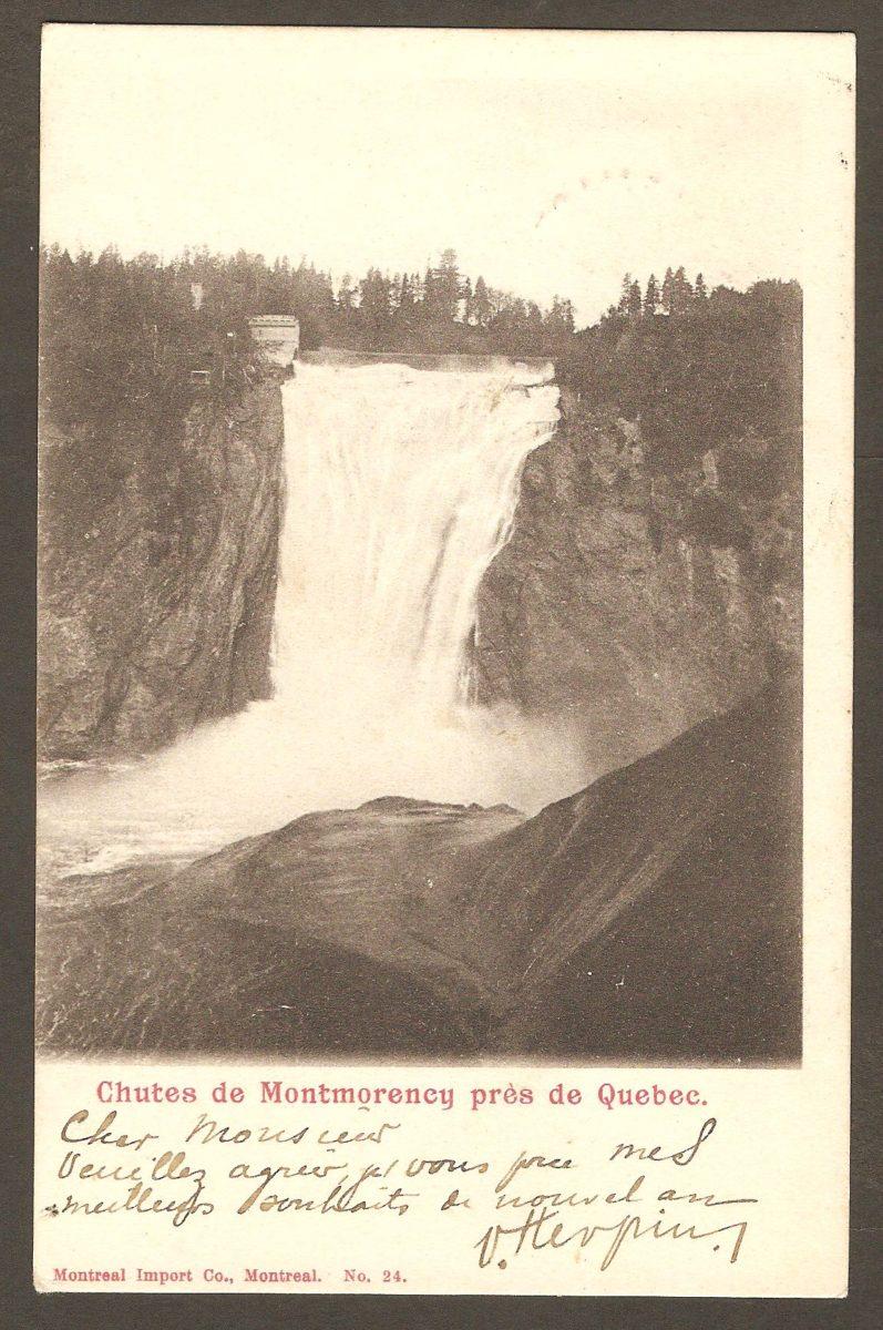 Troisième variété de la même carte postale à dos non-divisé produite par la Montreal Import Co. Elle a vraisemblablement été postée de « Shawenegan Falls » en 1903, à destination de la Belgique.
