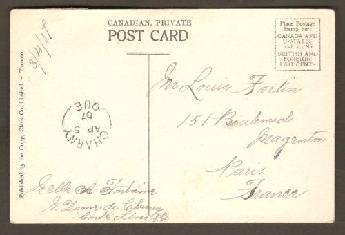 Carte postale de la chute Montmorency postée de Charny, en 1907. Elle a ceci de notamment intéressant qu'elle a été produite par la Copp, Clark Co. Limited, de Toronto, un éditeur de cartes postales inusité pour la région de Québec.