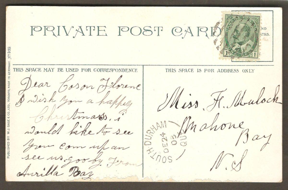 La chute Montmorency, sur une carte en couleurs postée en 1903 de South Durham (Québec) vers Mahone Bay (Nouvelle-Écosse). À noter, le beau et net cachet postal de South Durham ainsi que l'éditeur plutôt inusité pour des cartes de la région de Québec (W. J. Gage & Co, Ltd., Toronto).
