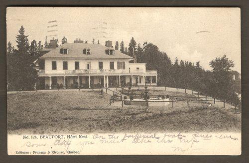 L'hôtel Kent, à Beauport, sur une carte postale de Pruneau & Kirouac postée en 1907.