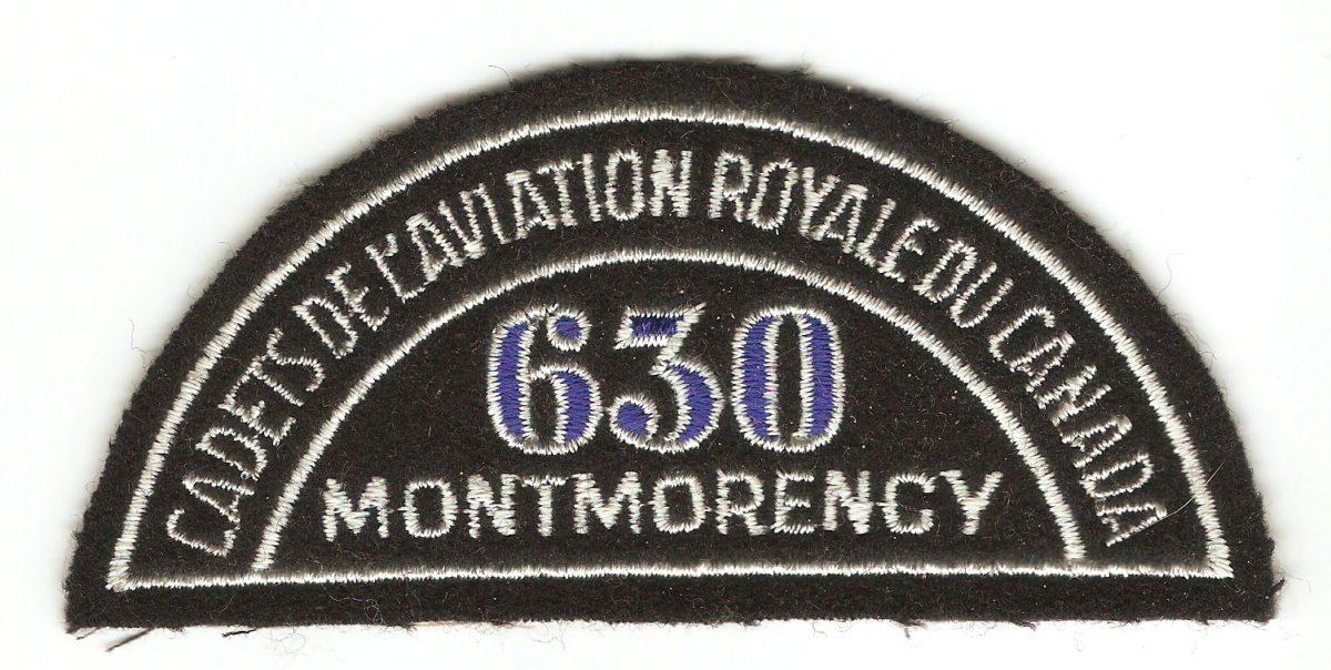 Insigne d'épaule des cadets de l'aviation, escadrille 630, Montmorency, en français.