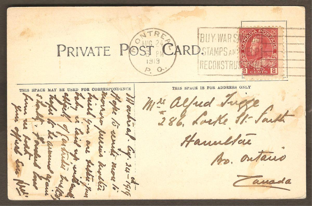 Carte postale de la Quebec News Co. montrant également le sommet de la chute et le kiosque du côté est. Endos. La carte a été postée de Montréal le 24 août 1919, à destination de Hamilton, en Ontario.