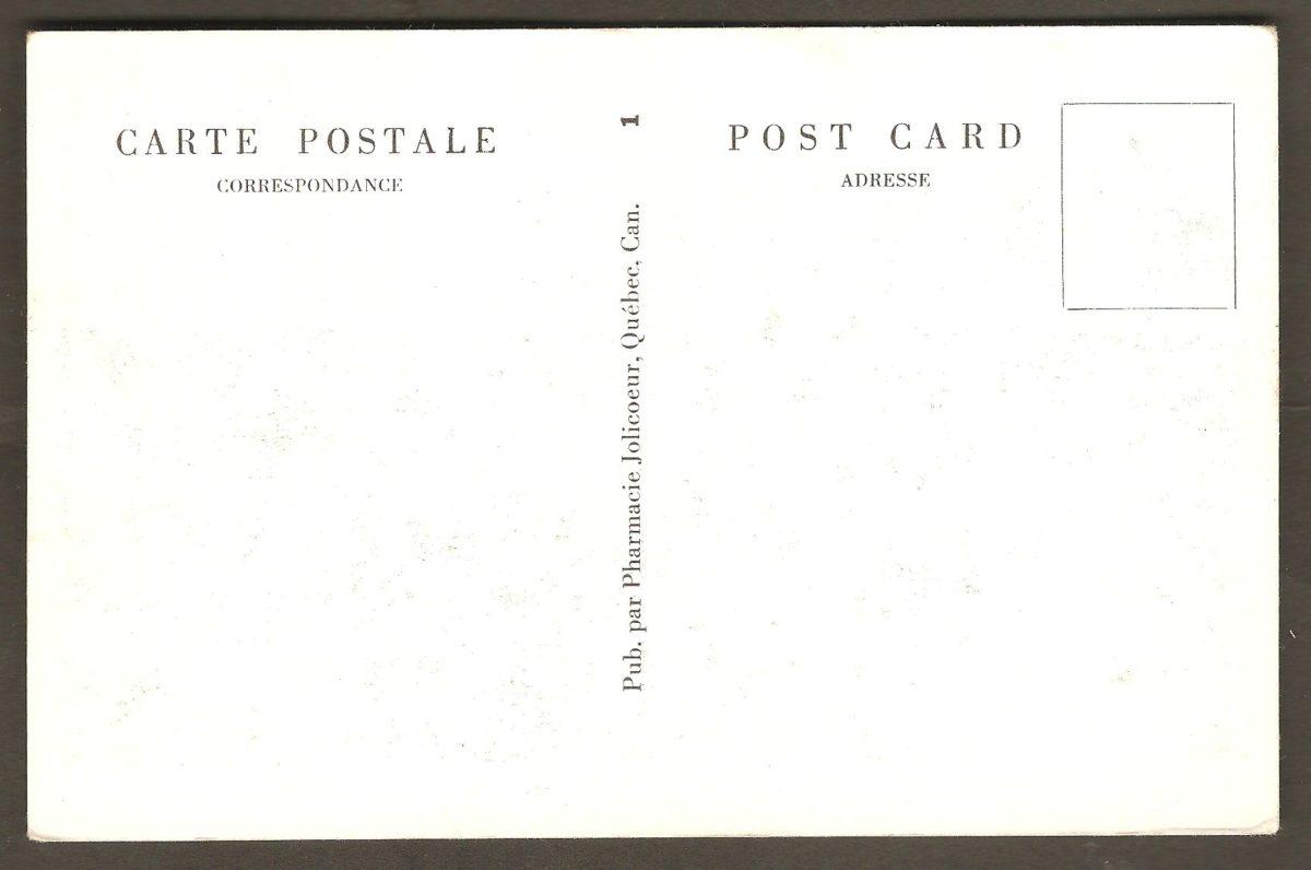 Carte postale où l'on voit le pont de l'île d'Orléans vers 1935-1940, donc peu après son inauguration. L'endos indique que c'est la pharmacie Jolicoeur, de Québec, qui a publié la carte. Un éditeur de cartes postales inusité.
