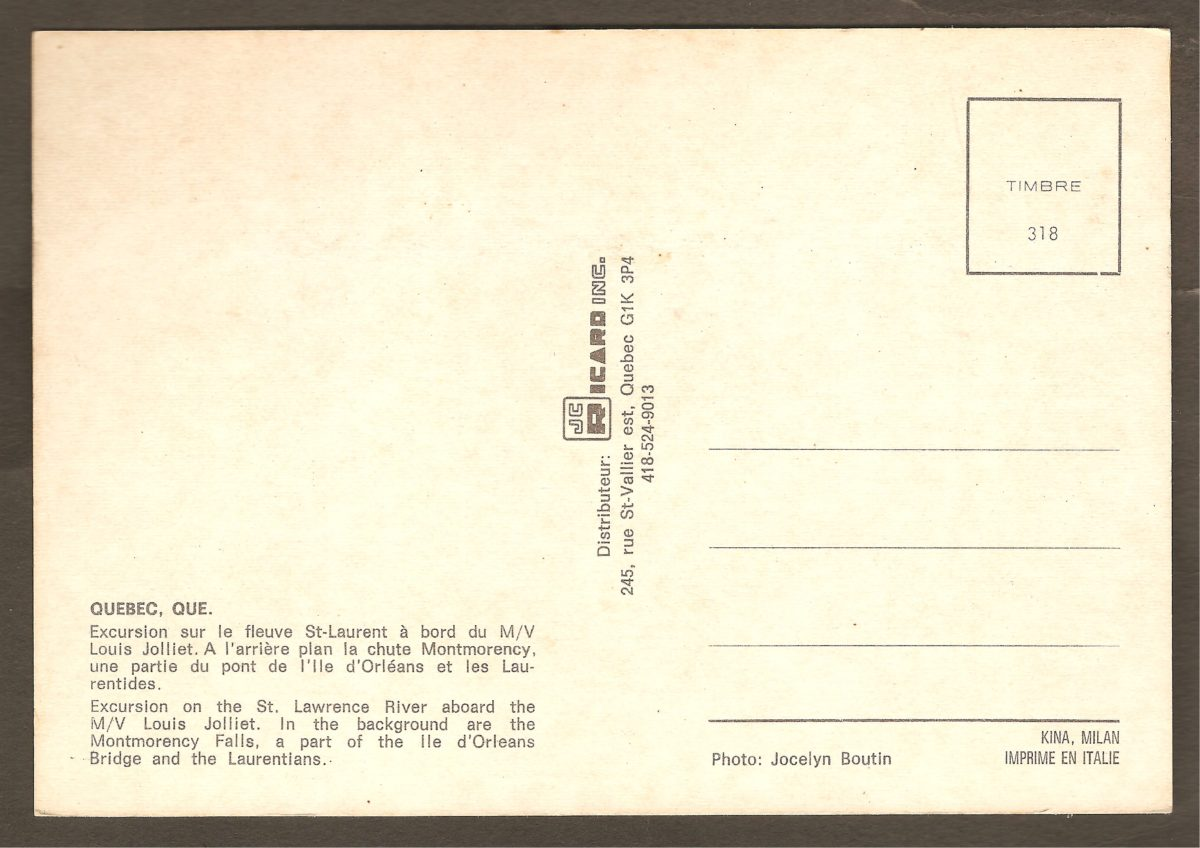 Carte postale des années 1980 montrant la Dominion Textile, derrière le bateau de (courte) croisière Louis Jolliet et devant la chute Montmorency. Endos.
