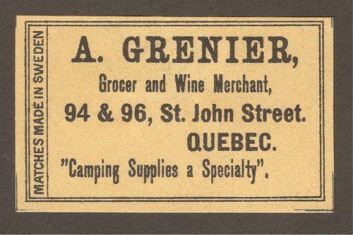 Une étiquette de boîte d'allumettes datant vraisemblablement des années 1900-1910 et publicisant le marchand A. Grenier, le fournisseur de la Montmorency Lumber Company mentionné dans les bordereaux de commande plus hauts.