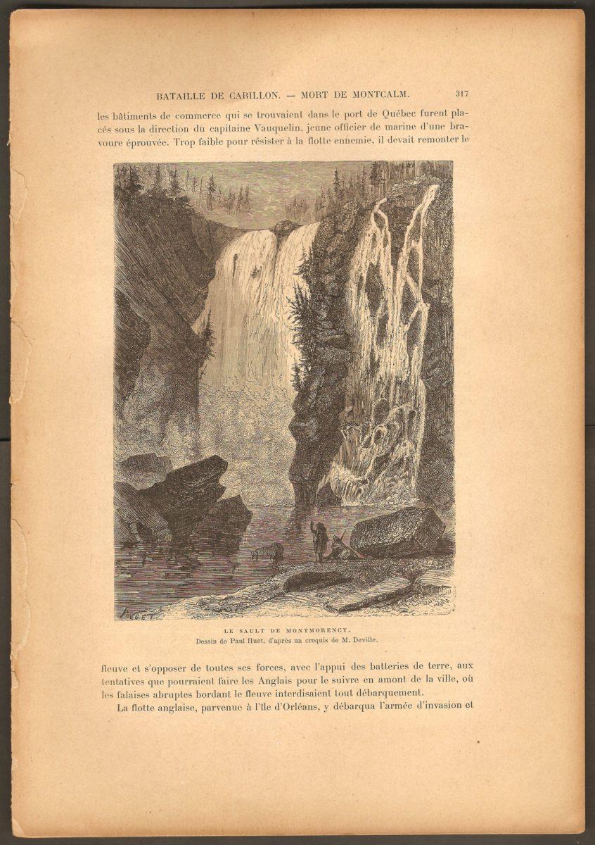 Le Sault de Montmorency, une gravure extraite de La Nouvelle-France d´Eugène Guénin. Dessin de Paul Huet, d'après un croquis de M. Deville.