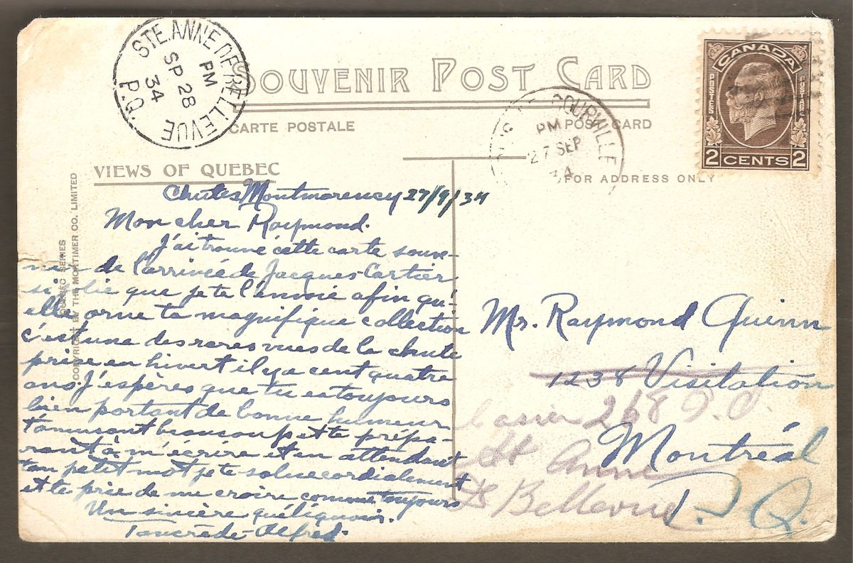 Cachet postal de départ, de Saint-Louis-de-Courville datant du 27 septembre 1934, sur une carte postale. Le cachet d'arrivée, de Sainte-Anne-de-Bellevue porte la date du 28 septembre 1934.