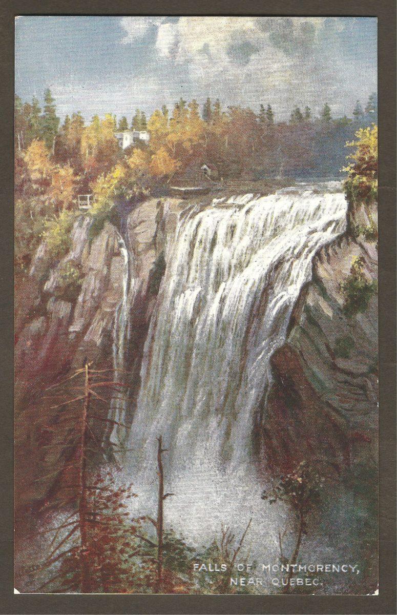 Carte postale de la belle série « Oilette » de Raphael Tuck & Son's, datant probablement des années 1910 et montrant un beau tableau de la chute Montmorency.