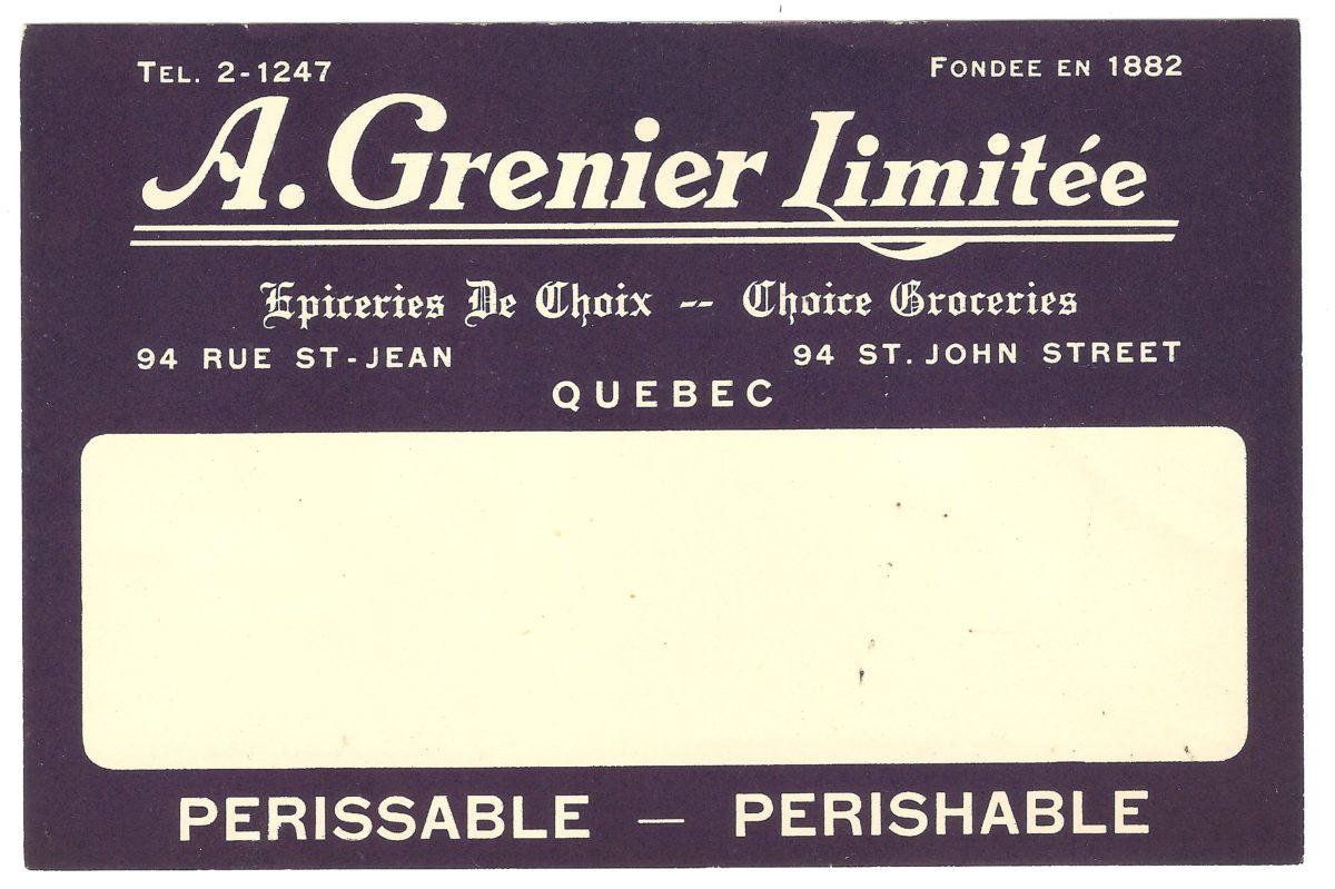 Étiquette pour denrées périssables de l'épicier A. Grenier, le fournisseur de la Montmorency Lumber Company. On y apprend notamment que cette épicerie date de 1882.