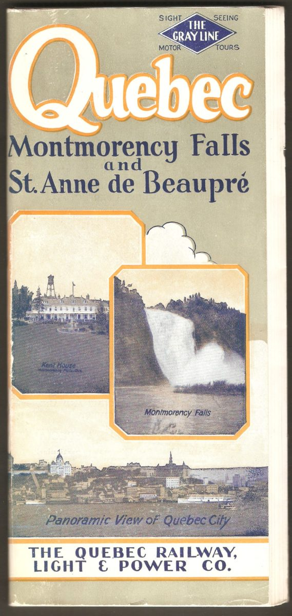 Brochure publicitaire Quebec Montmorency Falls and St. Anne de Beaupre, de la Quebec Railway Light & Power Co., publiée vers 1927