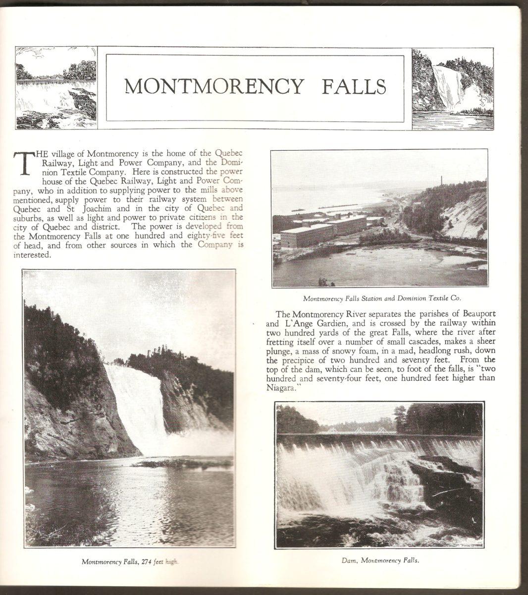 Double page de la section consacrée au site de la chute Montmorency, dans la brochure de la Q.R.L.&P.