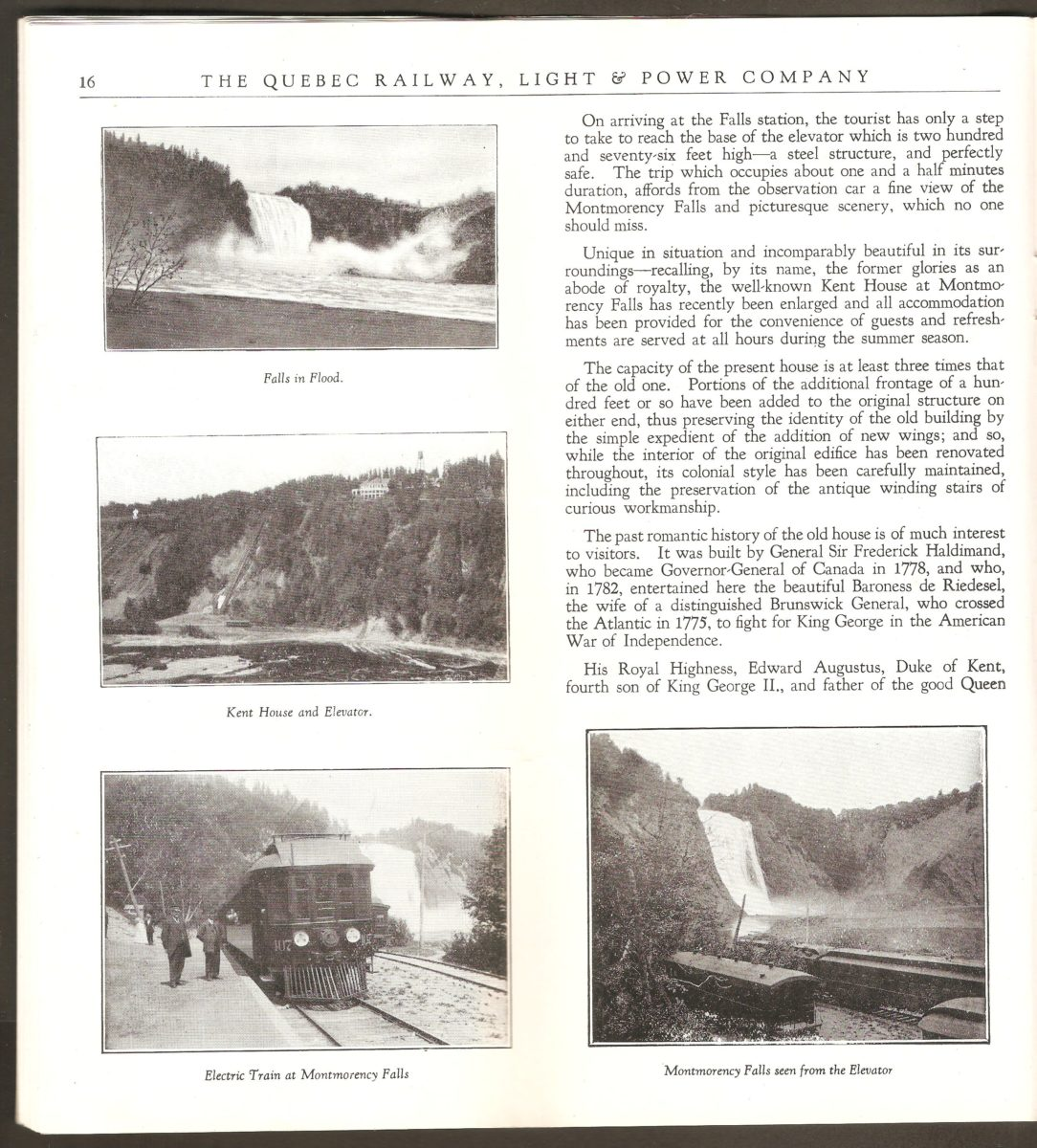 Brochure de la Quebec Railway Light & Power Co. Une seconde double page à propos du site de la chute Montmorency. On remarque notamment ici des tramways au pied de la chute.