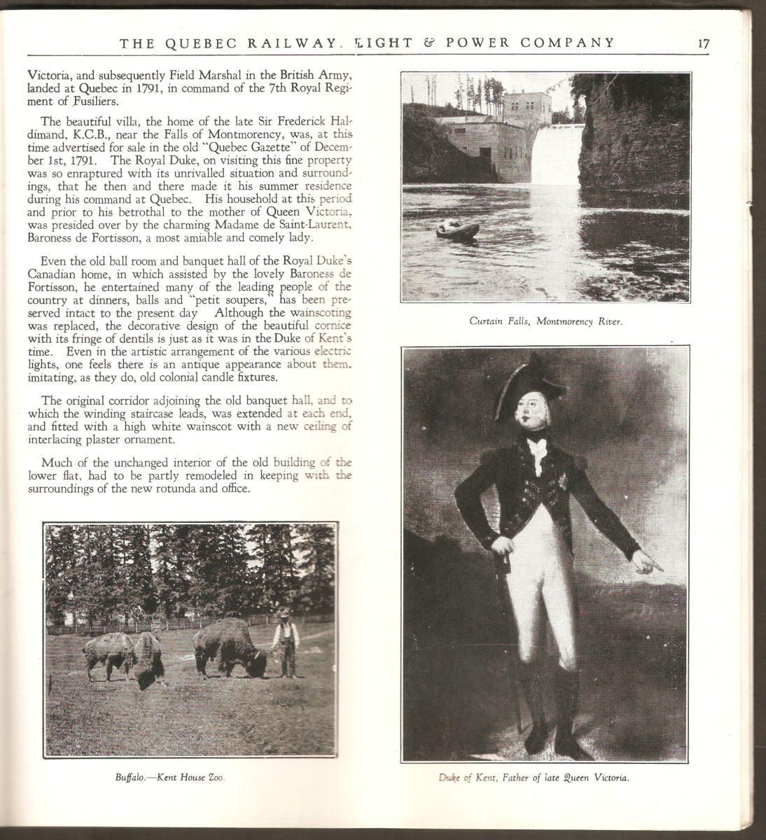Troisième double page de la brochure de la Quebec Railway Light & Power Co. consacrée au site de la chute Montmorency. Y figure, entre autres, une photographie de bisons du zoo Holt Renfrew.