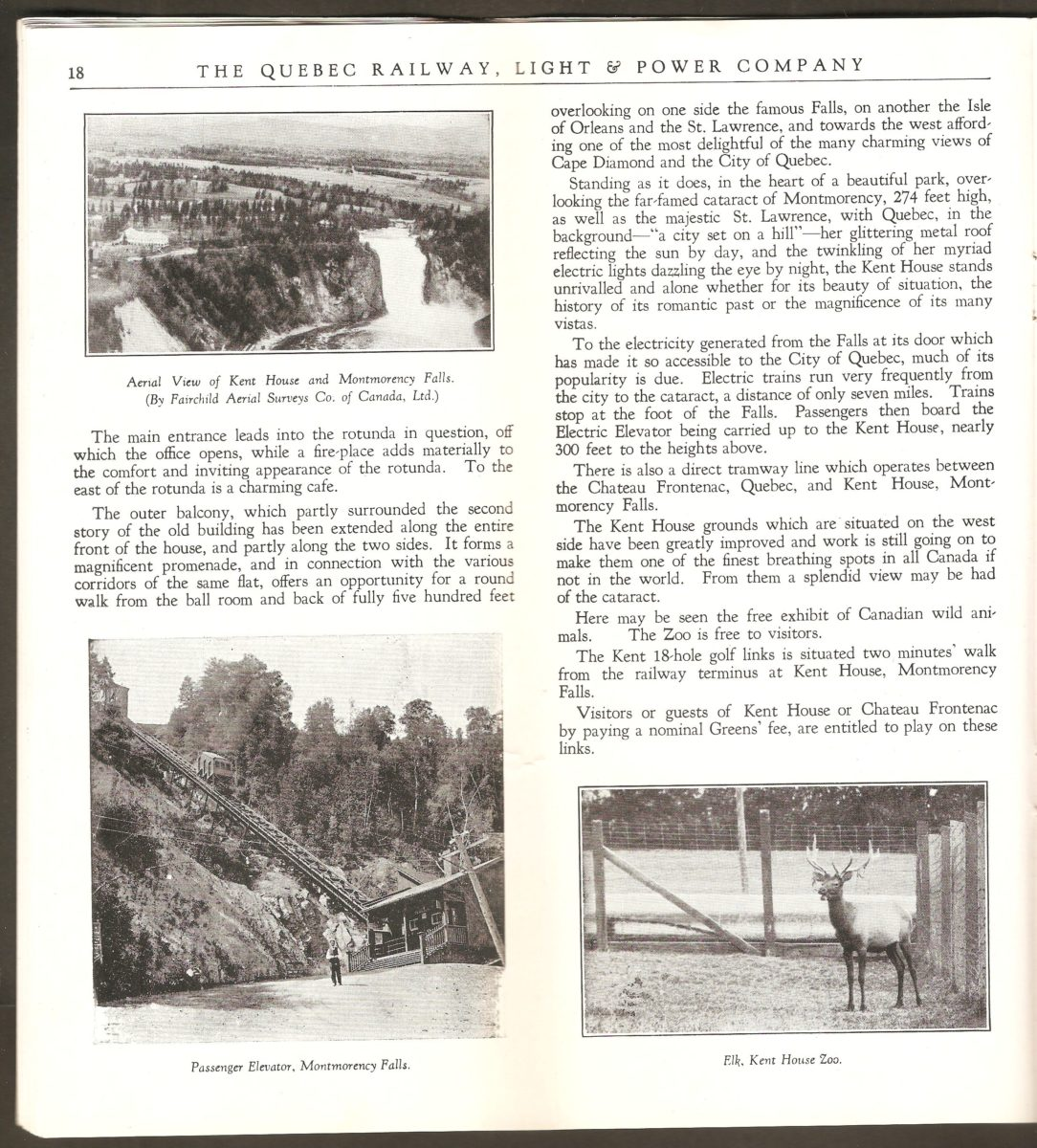 Sur cette autre double page de la brochure de la Quebec Railway Light & Power Co., se trouvent des photographies montrant le funiculaire et un wapiti du zoo Holt Renfrew.