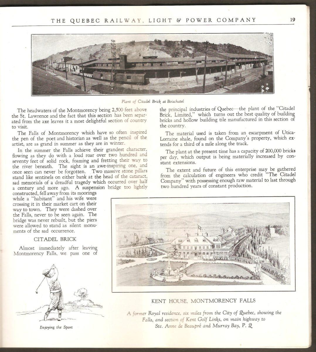 Encore une double page dédiée au site de la chute Montmorency. Il y est notamment question de l'usine de briques Citadelle se trouvant à la base de la falaise, au début de Boischatel, à peu de distance de la chute.