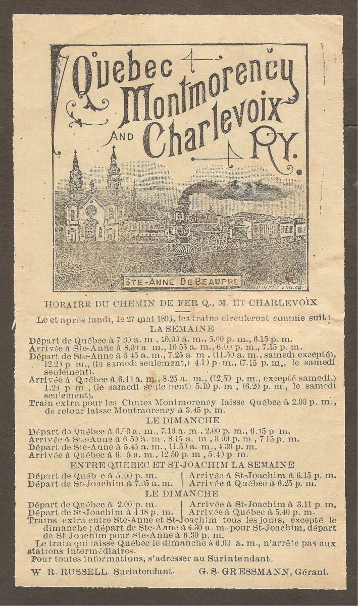 Une publicité de la compagnie du Chemin de fer Québec, Montmorency et Charlevoix. parue dans les Annales de la Bonne Sainte Anne de Beaupré, numéro de juillet 1895. La publicité est en français, ce qui n'est pas commun pour l'époque.