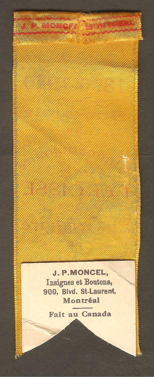 Petit ruban souvenir de poitrine pour le Cinquantenaire de la paroisse Saint-Grégoire de Montmorency (1890-1940). Il souligne, en particulier, un événement tenu le 6 octobre 1940.