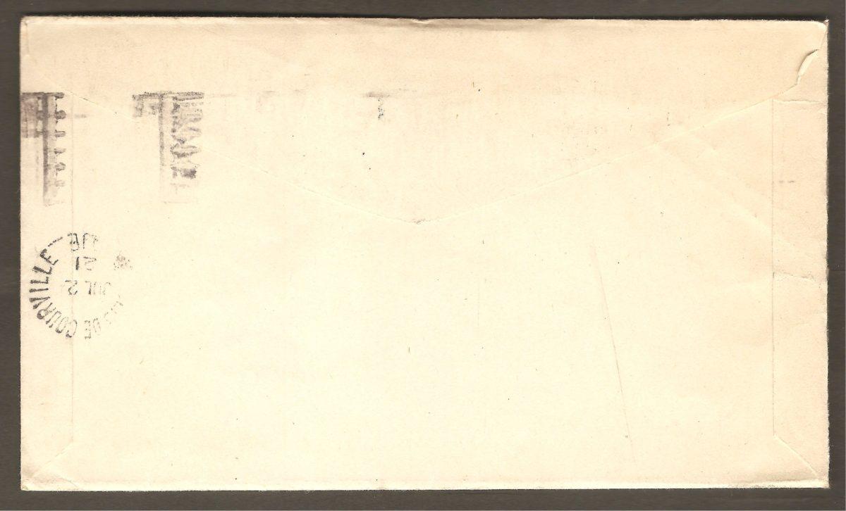 L'endos de l'enveloppe porte le cachet de Saint-Louis-de-Courville. La lettre s'y est donc rendue. Cependant, faute d'y trouver le destinataire la lettre a été retourné à l'expéditeur.