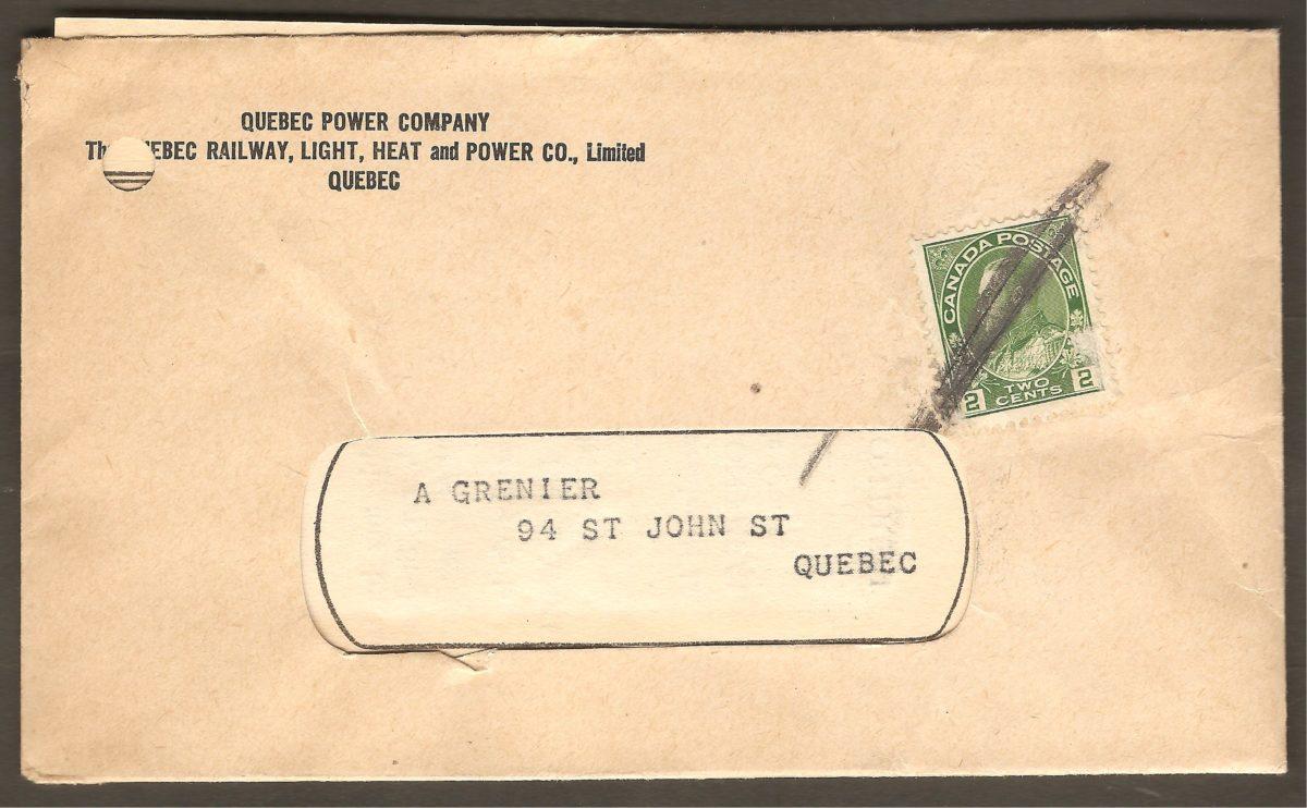 Une autre enveloppe de la Quebec Railway, Light, Heat & Power Co. Limited.