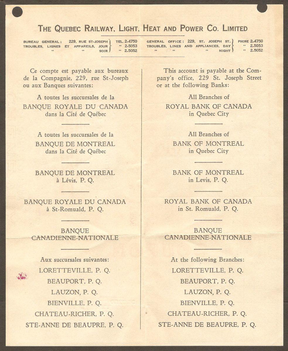 L'endos de la facture de la Quebec Railway, L:ight, Heat and Power Co. Limited indique les endroits où elle peut être payée.