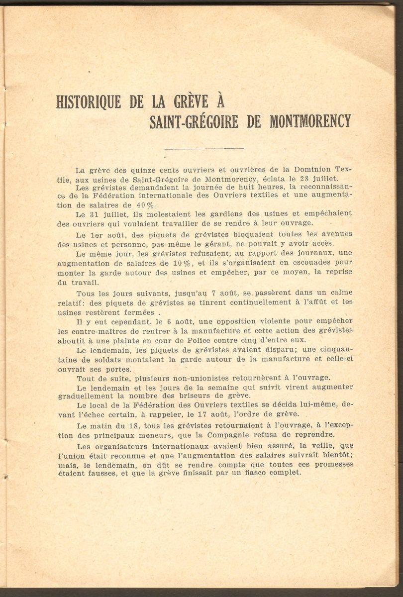 Page du texte faisant l'historique de la grève à la Dominion Textile de Saint-Grégoire de Montmorency.