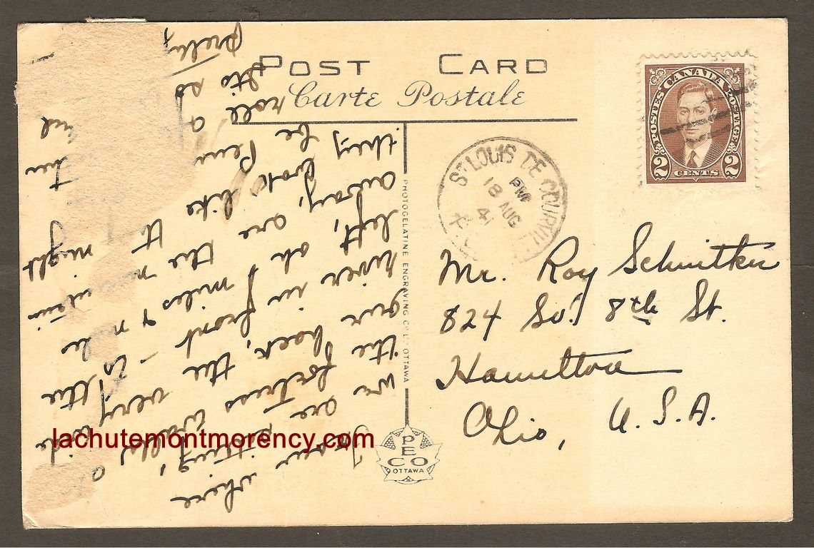 Une carte postale expédiée de Saint-Louis-de-Courville, le 18 août 1941 à destination de Hamilton, en Ohio. Le cachet postal es relativement net.