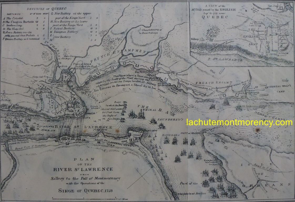 Un plan du siège de Québec, en 1759. La légende accompagnant cette gravure précise : « A New and Accurate Plan of the River St Lawrence from the Falls of Monmorenci to Sillery, with the Operations of the Siege of Quebec. 1763. » L'année 1763 se rapporte à la date de création de la gravure et non à celle du siège, qui s'est produit, en effet, en 1759.