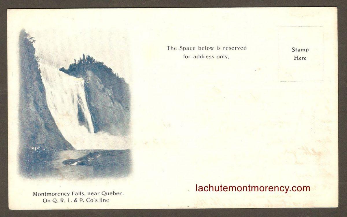 Carte postale à dos non-divisé produite pour la Quebec Railway Light & Power Company. Le recto compte une surface réservée à la rédaction d'un message.