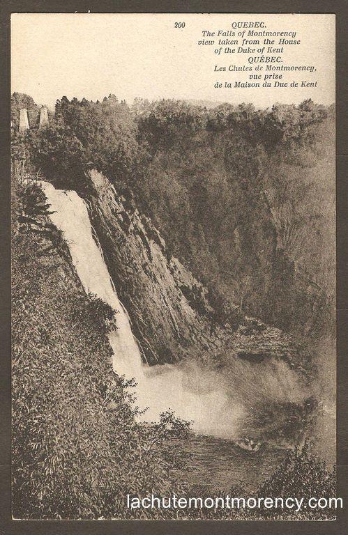 Carte postale Neurdein ND 200: Québec - Les Chutes de Montmorency, vue prise de la Maison du Duc de Kent.