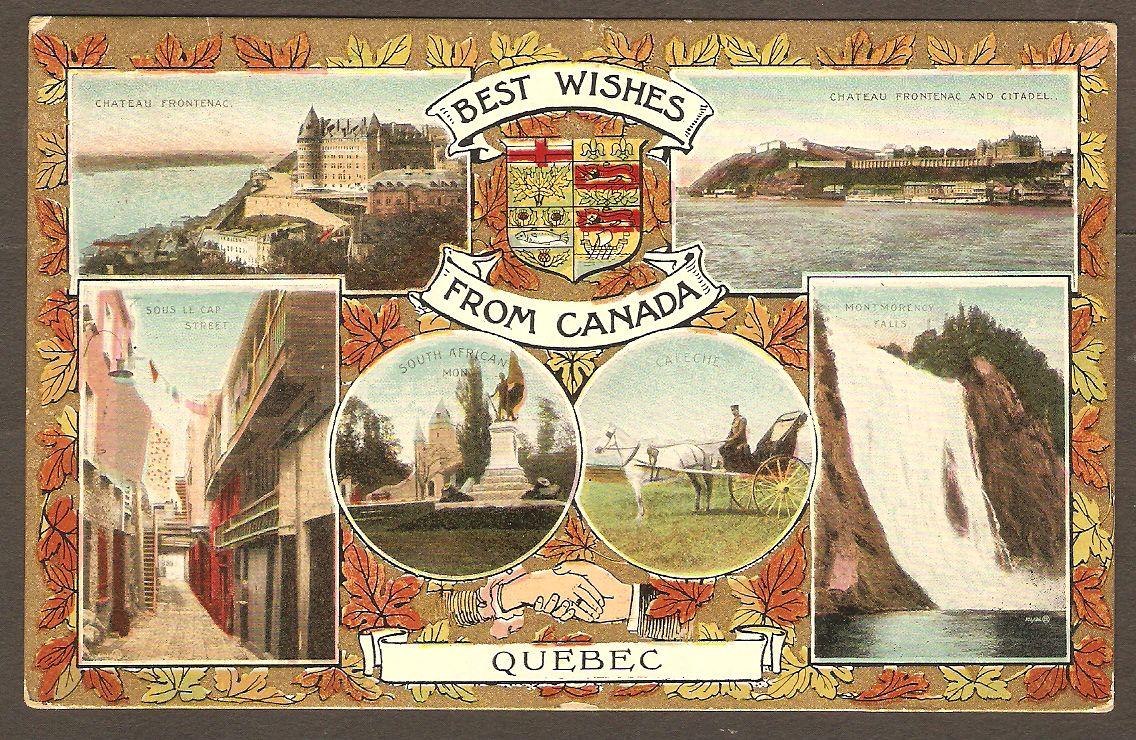 Carte en couleur de type patriotique (portant le blason du Canada), à vues multiples. Une des cinq photographies présente la chute Montmorency. Postée en 1906.