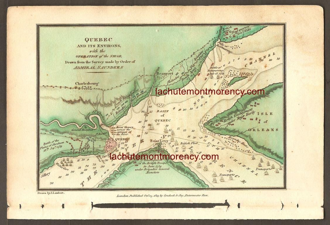 La carte trace un portrait des retranchements des deux camps en présence lors du siège de Québec, tout au long de l'été 1759.