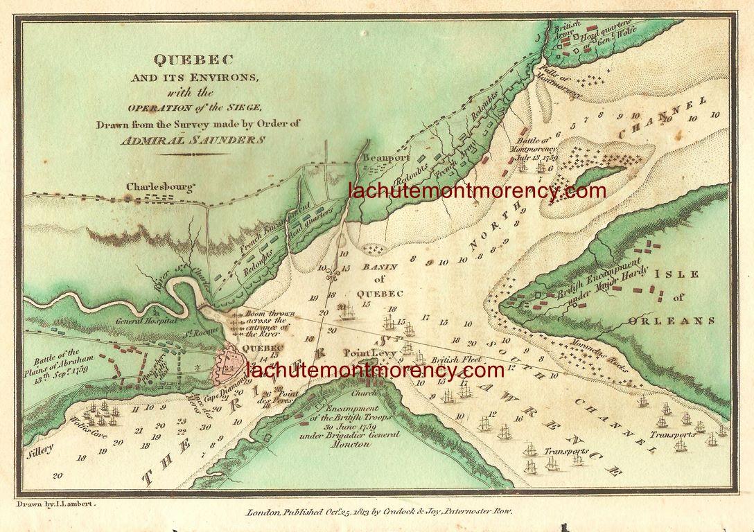 L'agrandissement permet de mieux voir la dispositions des troupes qui s'affrontaient. On remarque, notamment, les indications de profondeurs dans le Saint-Laurent. Il s'agissait, en effet, d'une carte destinée à l'amiral Saunders.