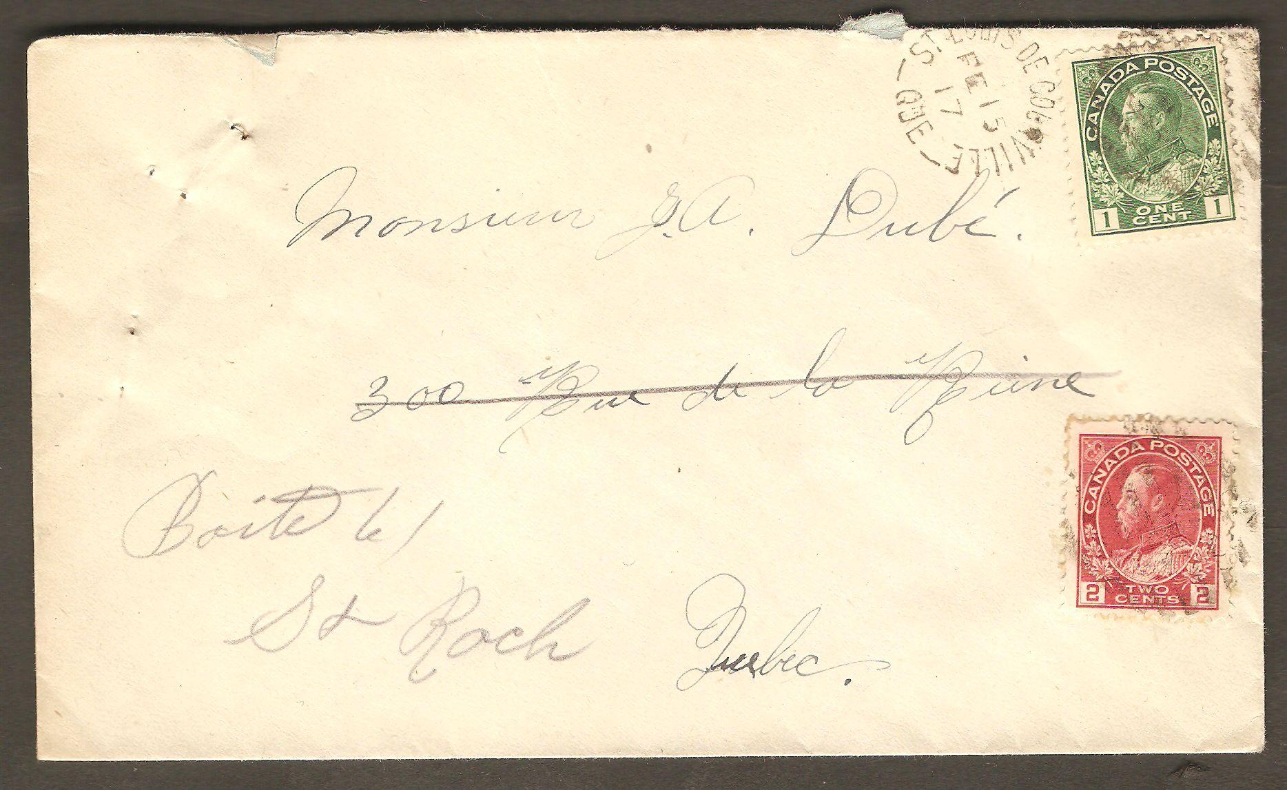 Lettre postée de Courville le 15 février 1917, soit au cours de la Première Guerre mondiale. Son affranchissement se compose de deux timbres de type « Amiral », du roi Georges V. Le  premier, un timbre vert, à 1¢, sert d'affranchissement. Le second, rouge et ayant une valeur de 2¢, sert à payer la taxe de guerre, alors obligatoire.