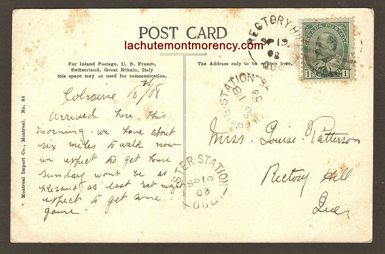 Endos de carte postale : bébé cerf de Virginie au zoo Holt Renfrew, site de la chute Montmorency. Adressée à Mlle Louise Patterson, à Rectory Hill.