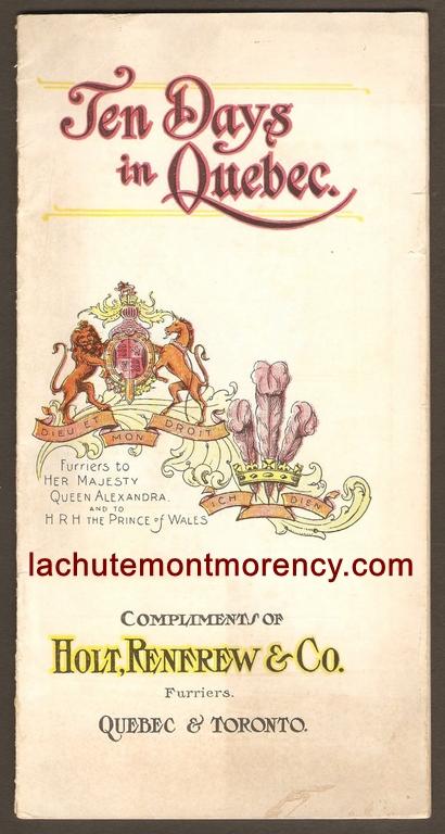 Brochure publicitaire publiée par la compagnie Holt Renfrew, aux environs de 1910.