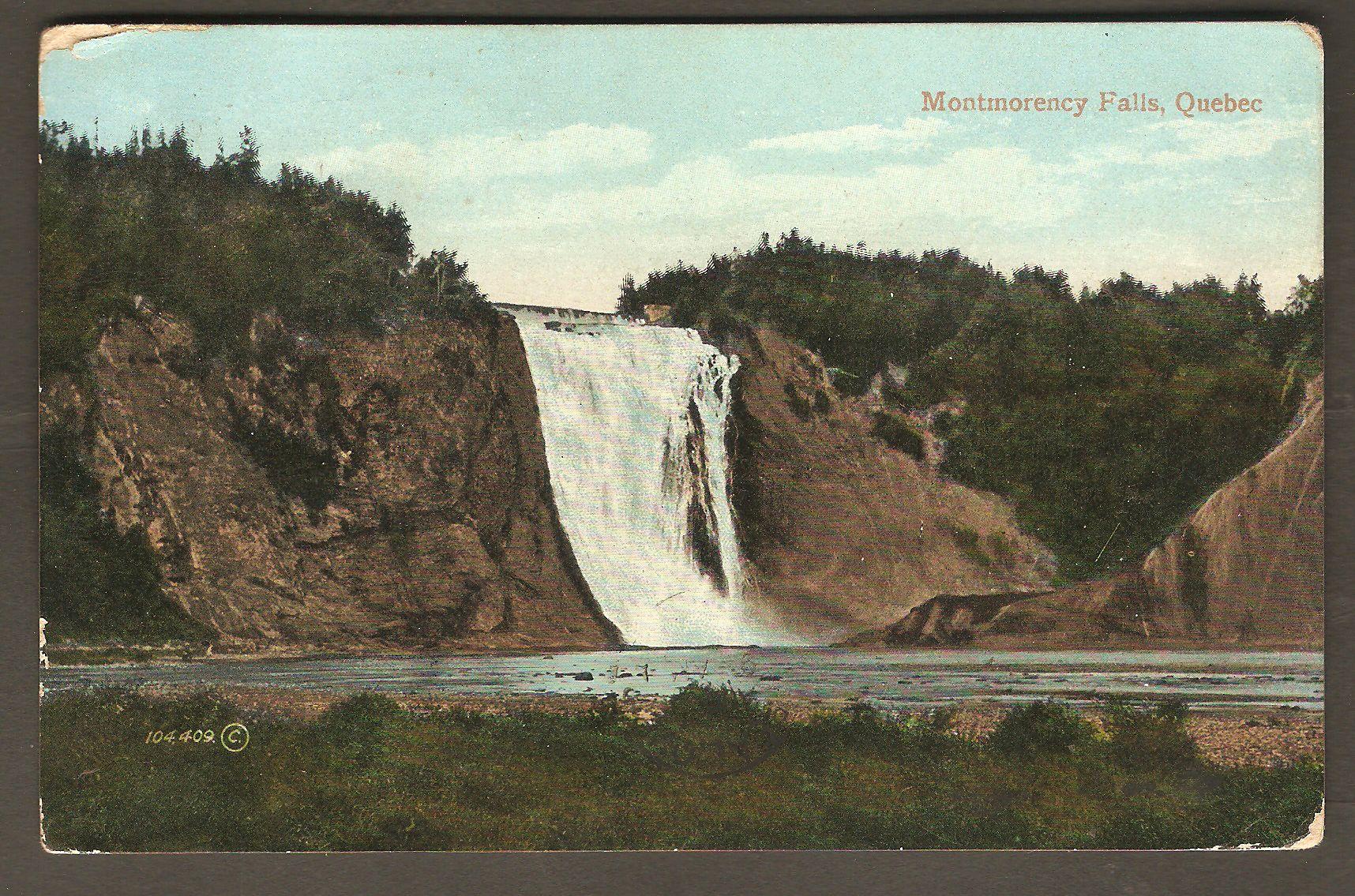 Carte avec cachet du 31 juillet 1909, de Montmorency Falls.